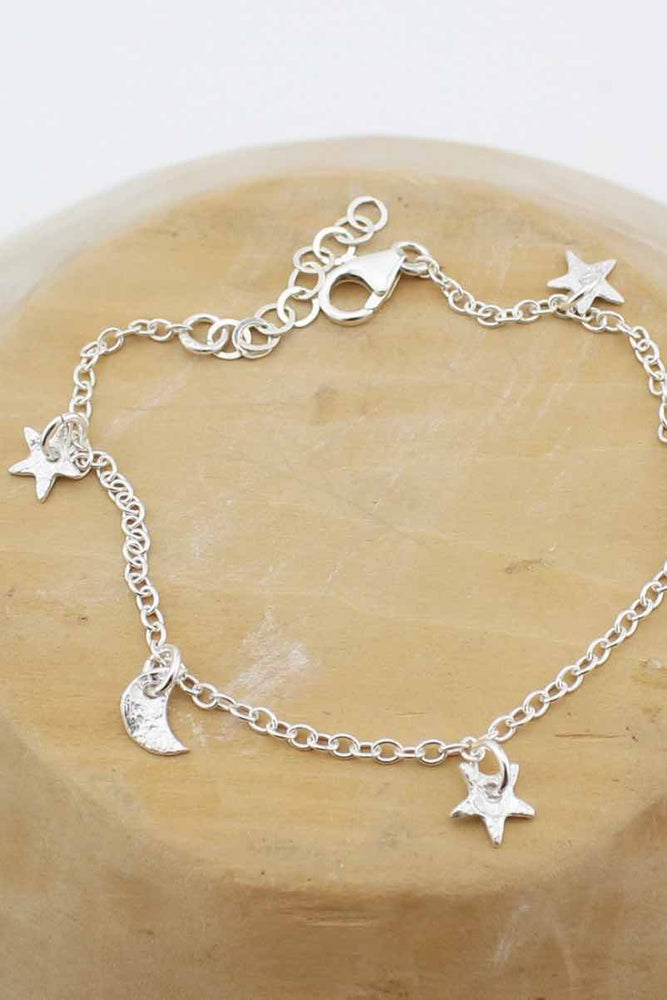 Handmade Sterling Silver Star and Moon Charm Bracelet