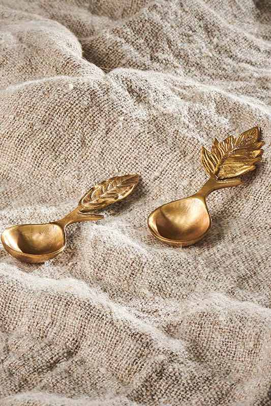 Leaf Brass Short Spoons | Antique Brass | Set of 2