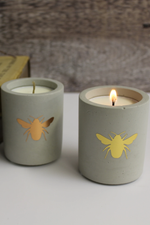 Concrete Bee Candle | Gold | Black Pomegranate
