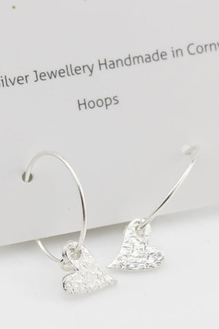 Silver Tilted Heart Hoops