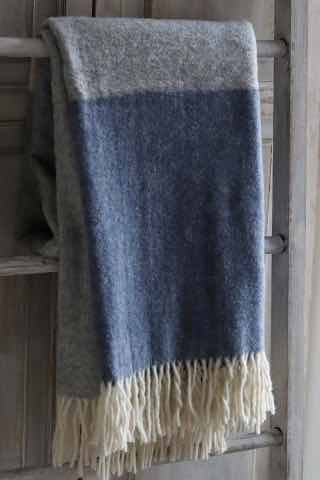 Wool Throw | Blue & Grey Stripe