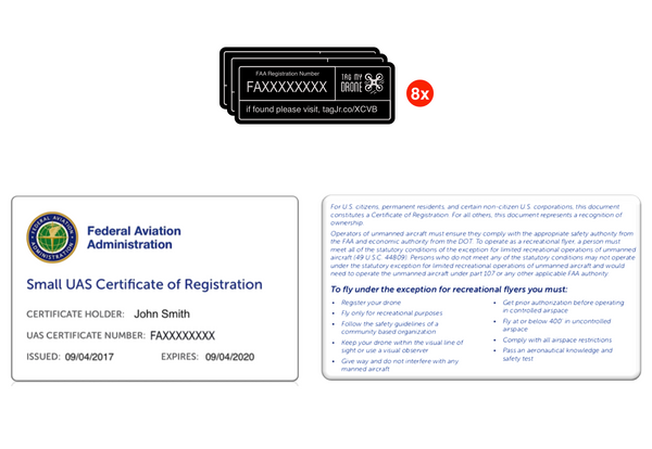 FAA Drone Label & Pilot ID Card | Black