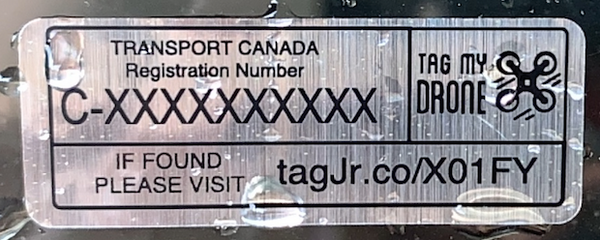 Transport Canada Drone Label | Silver Brushed