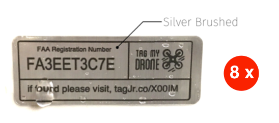 FAA Drone Label | URL Silver Brushed