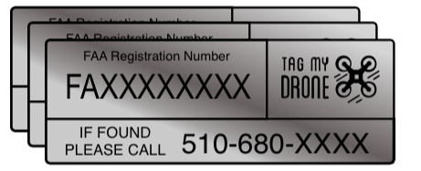 FAA Drone Label | Phone Number Silver Brushed