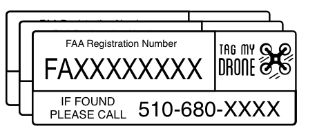 FAA Drone Label | Phone Number White