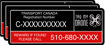 Transport Canada Drone Label | Reward Black-Red