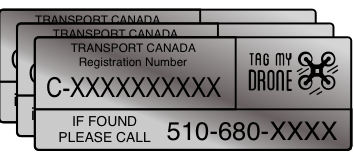 Transport Canada Drone Label | Phone Number Silver Brushed