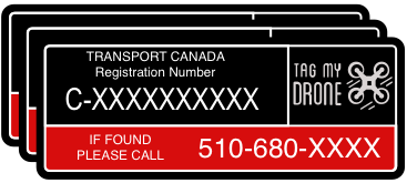 Transport Canada Drone Label | Phone Number Black-Red