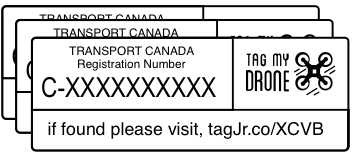 Transport Canada Drone Label | URL White