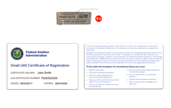 FAA Drone Label & Pilot ID Card | Silver Brushed