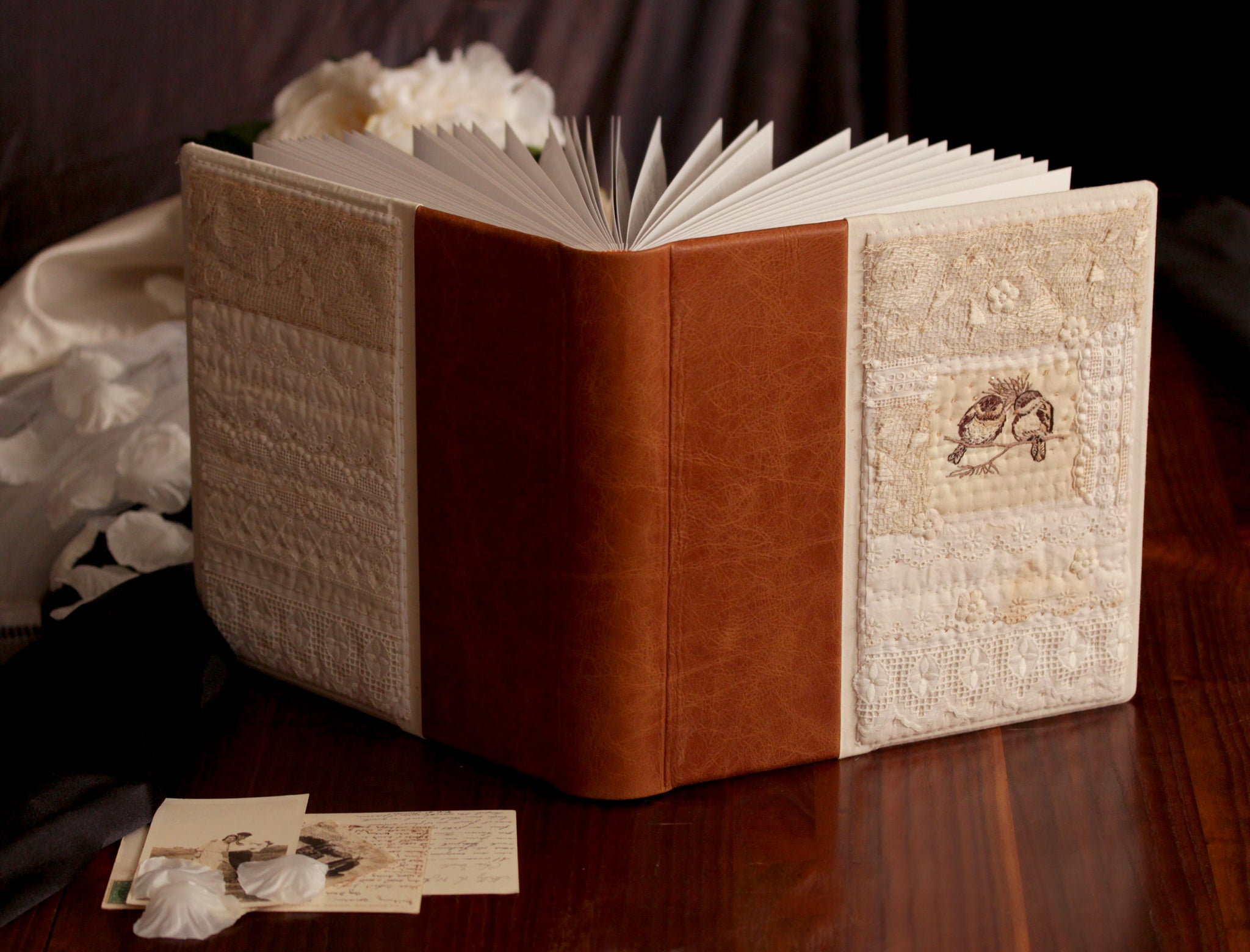 Set of Handmade Wedding Photo Album and Guest Book || Luxury Vintage Lace and Leather Bound Bridal Set