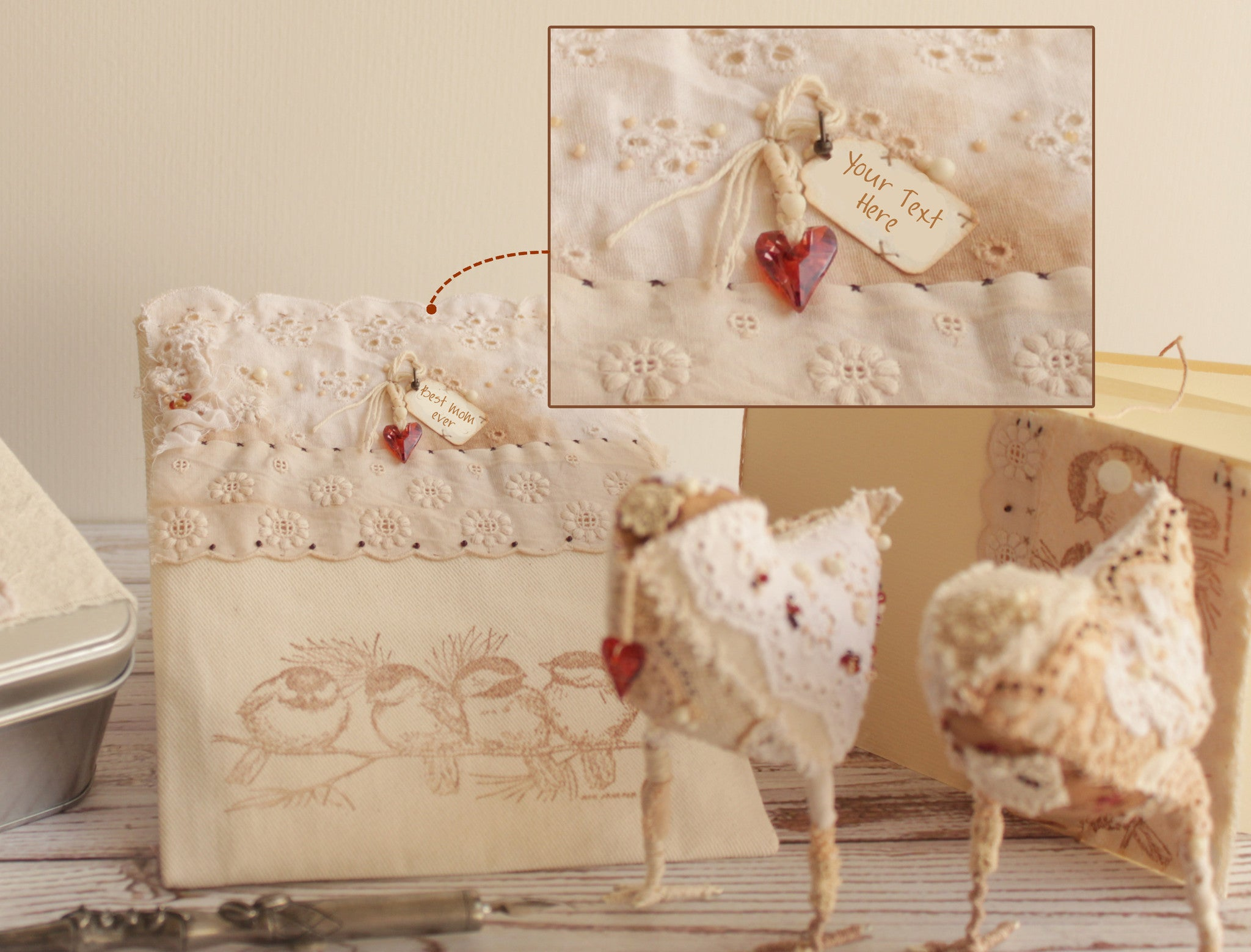 Romantic gift set - lacy love birds, fancy blank card and tin box
