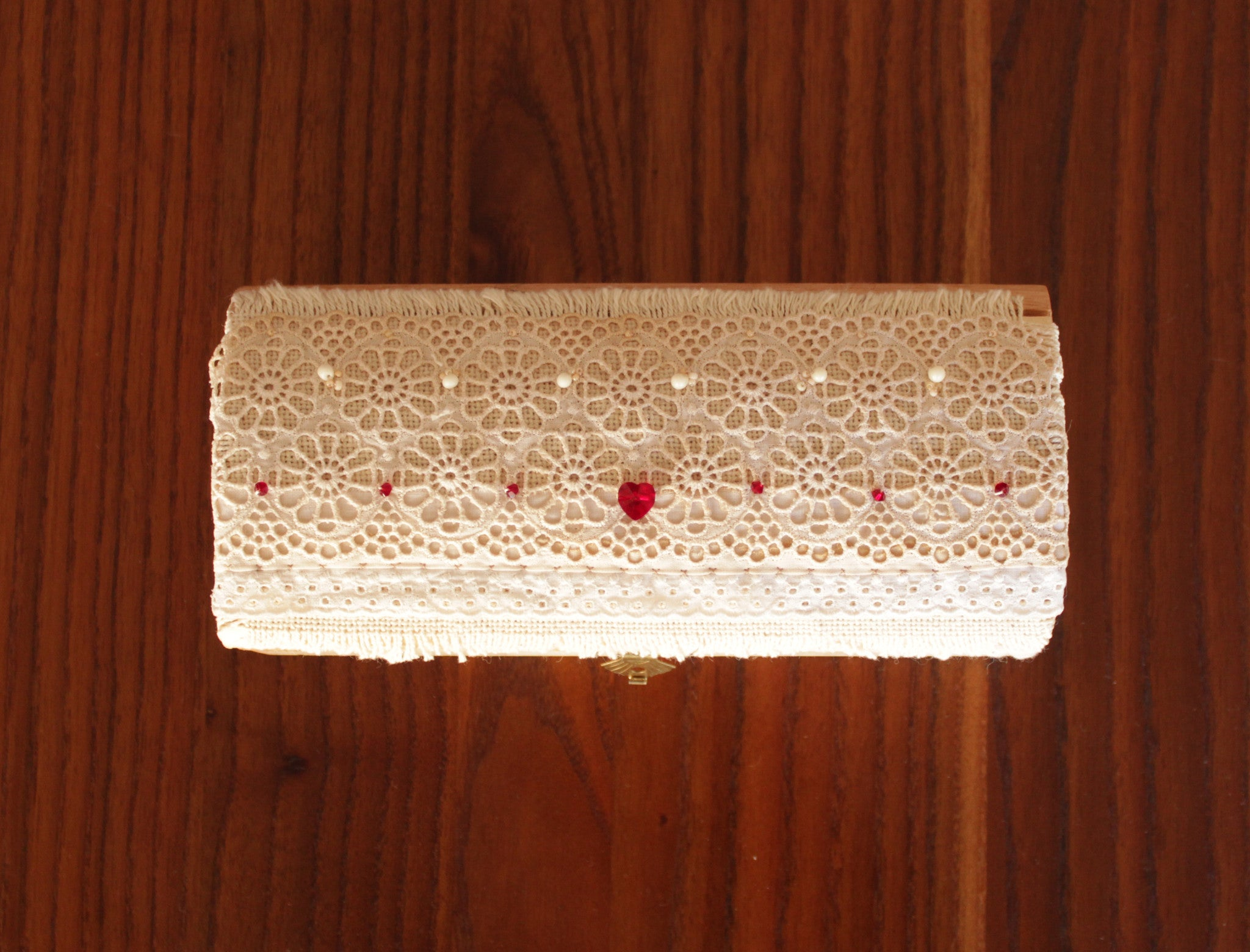 Rustic wedding ring holder box with Swarovski stones