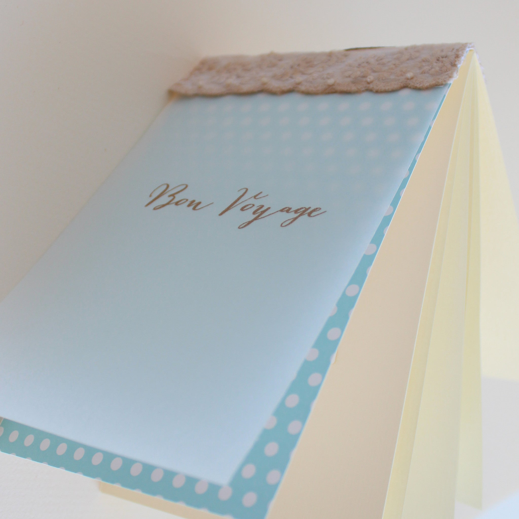 "Handmade ""Bon Voyage"" (Safe Travel) greeting card with Swarovski sea star"