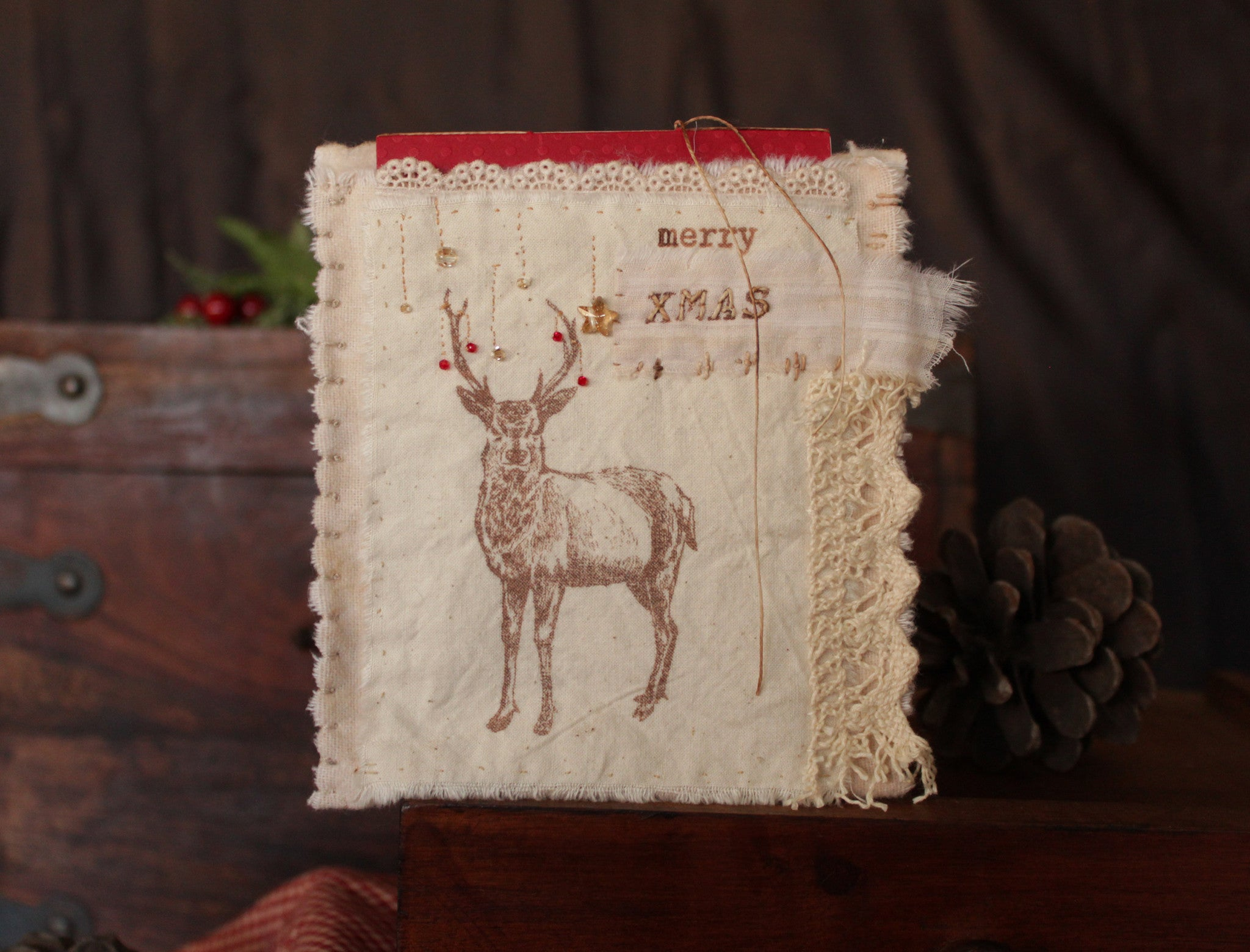 one-of-a-kind Christmas card with Swarovski beads and vintage laces