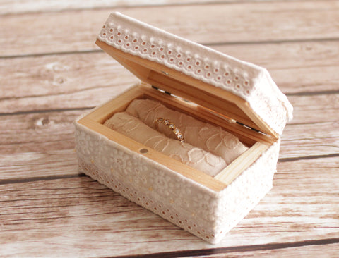 Rustic wedding ring holder box - handmade with vintage laces