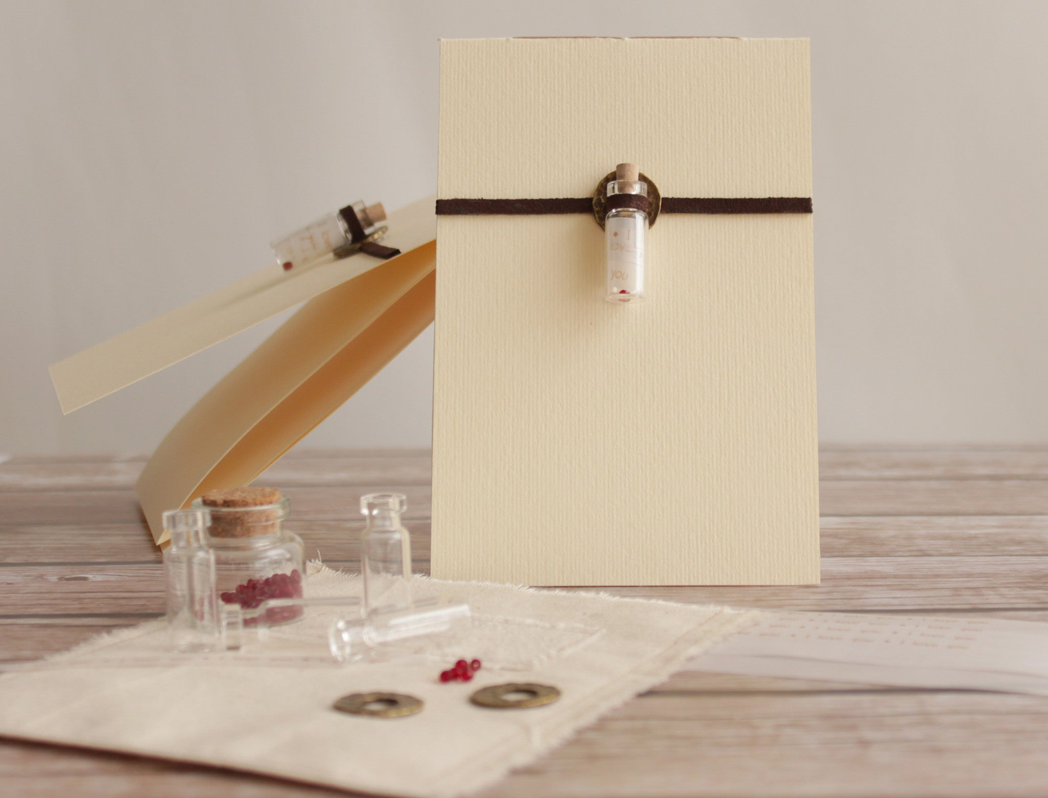 Message in a bottle - I love you greeting card