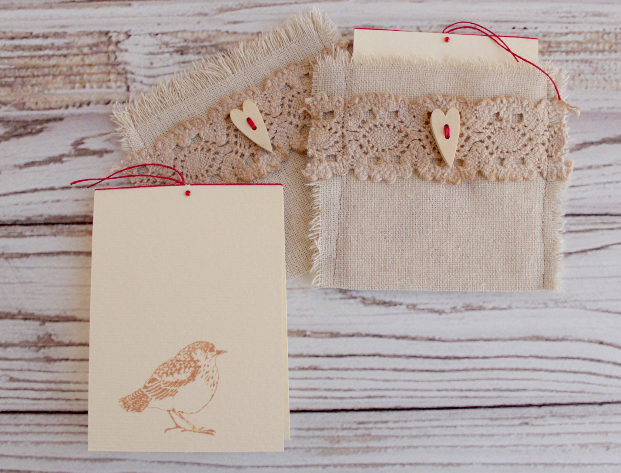 Blank greeting card in natural linen envelope
