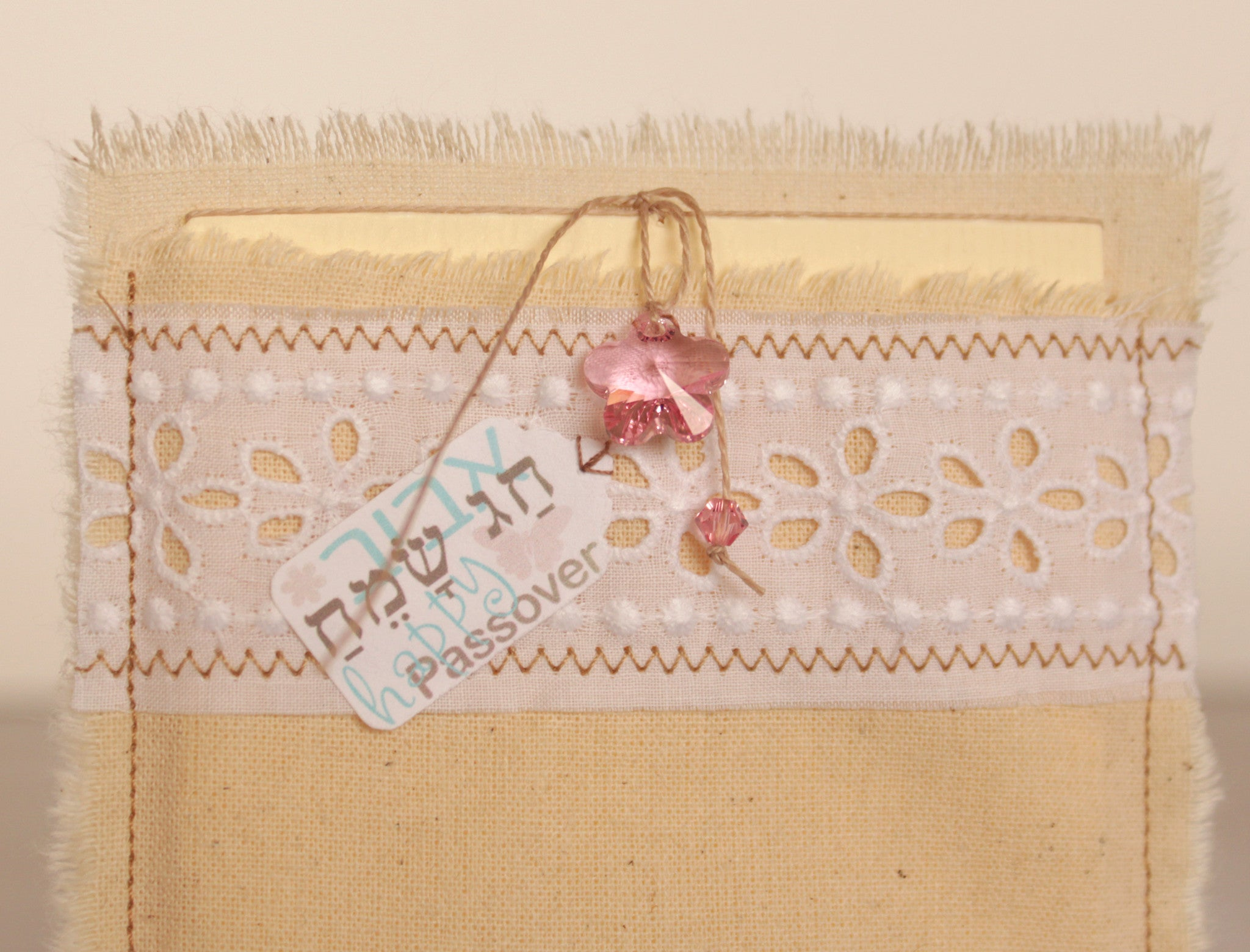 Passover greeting card – Happy Passover – in cotton envelope with Swarovski flower