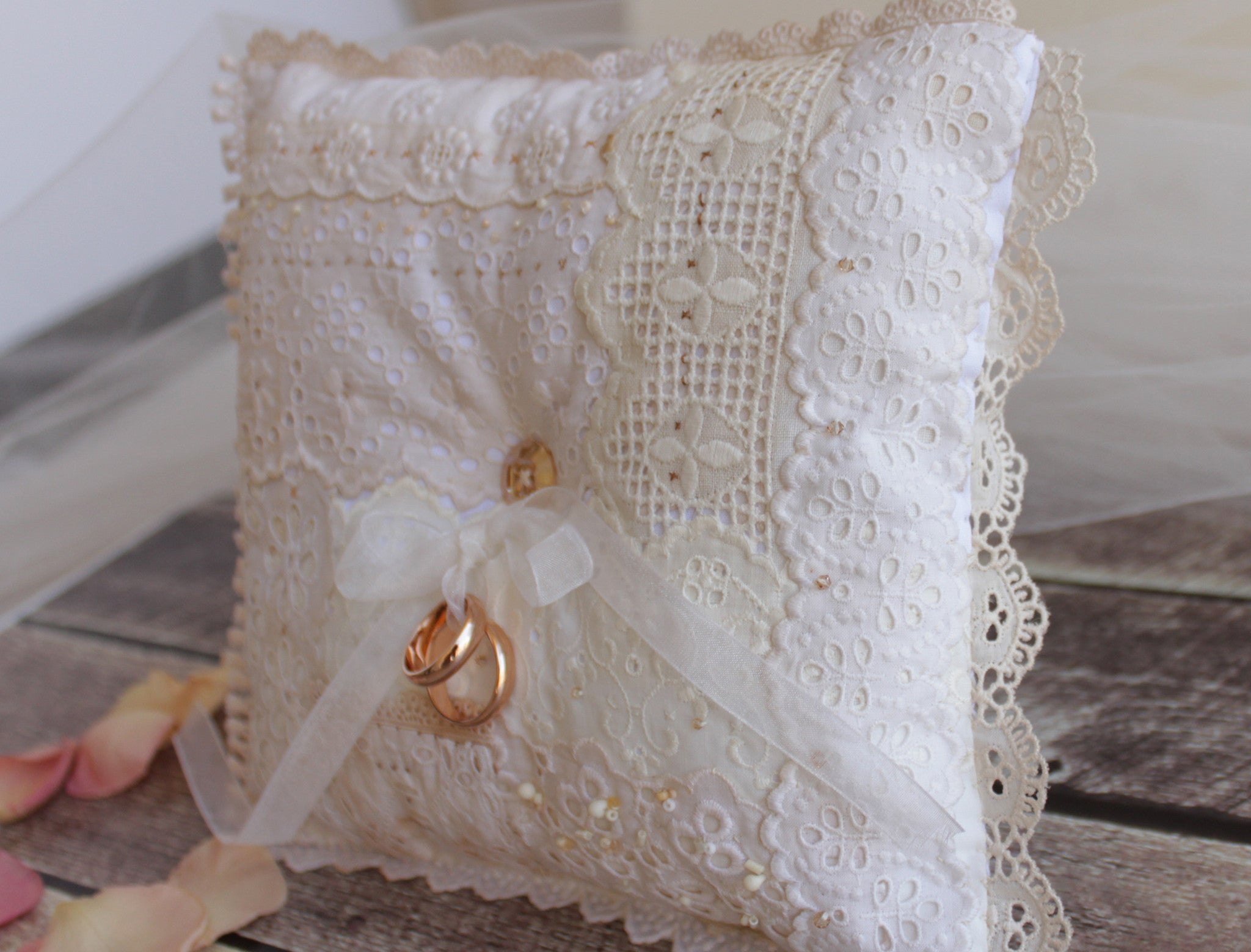 OOAK Hand sewn ring bearer pillow - made with hand dyed vintage laces and Swarovski button and beads
