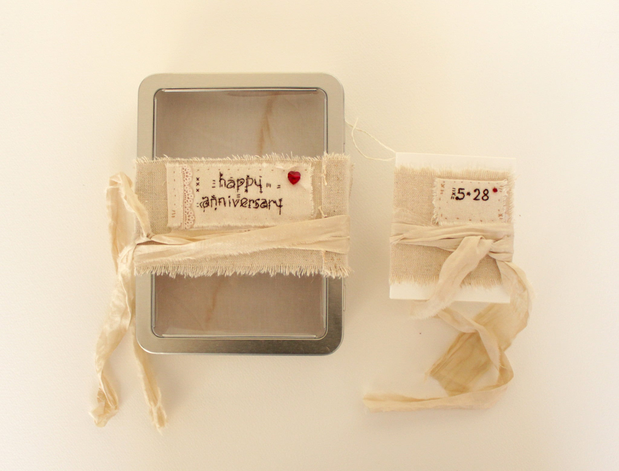 Happy Anniversary -- OOAK personalized tin box gift set -- LOVE IN A BOX