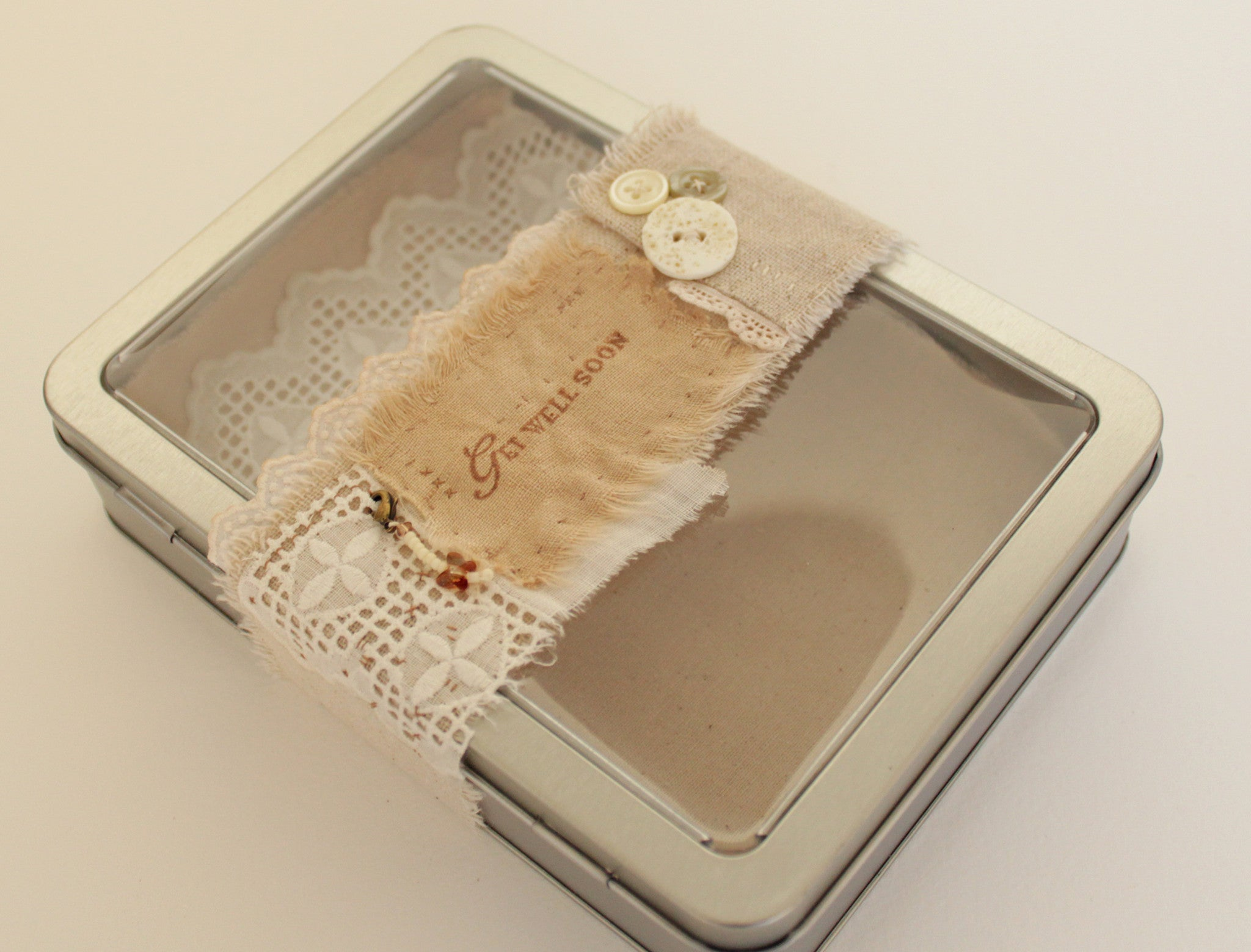Get Well Soon -- OOAK tin box gift set -- LOVE IN A BOX