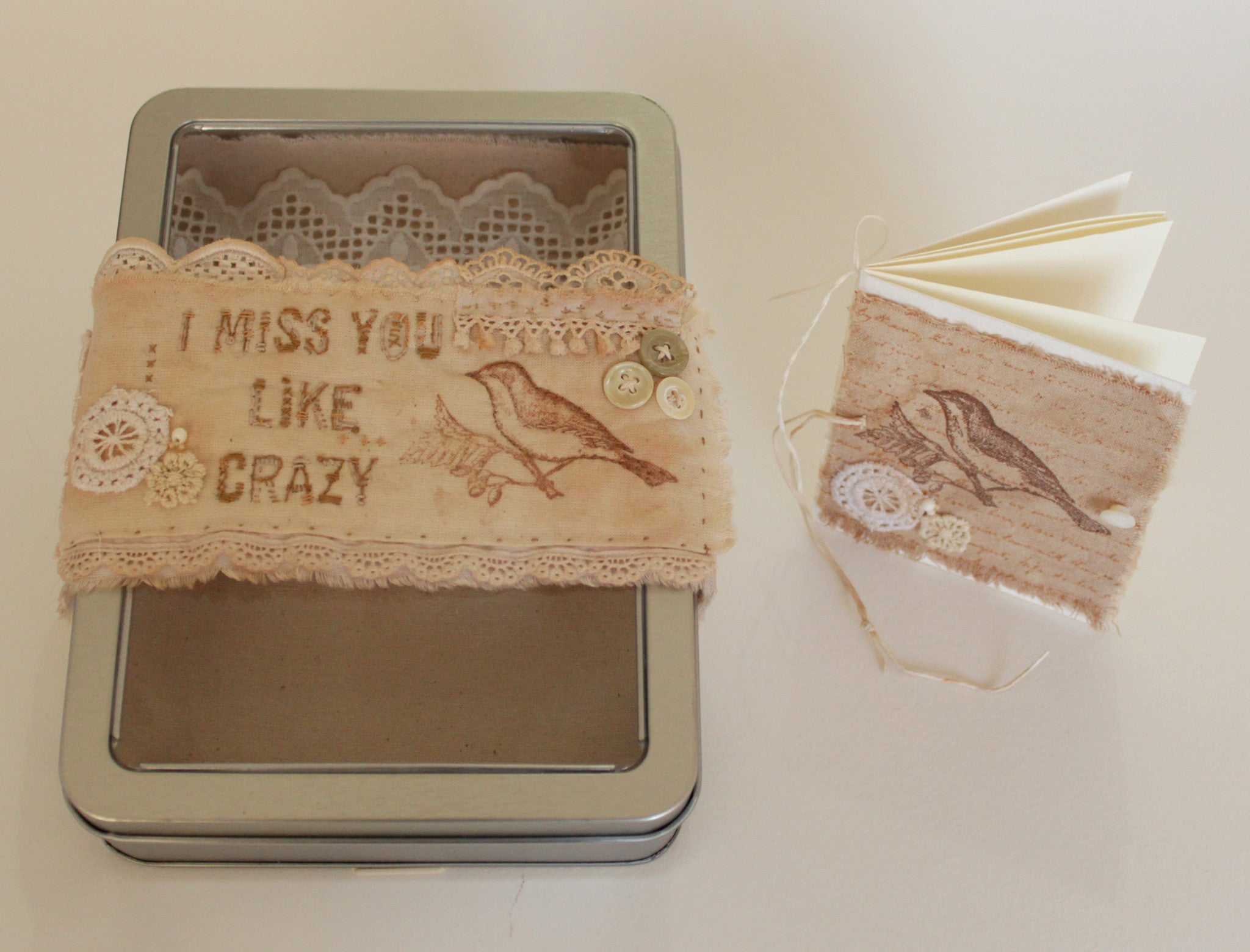 OOAK tin box gift set -- I MISS YOU LIKE CRAZY -- LOVE IN A BOX