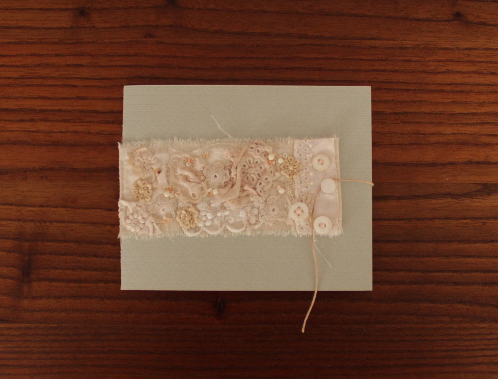 Romantic booklet-card handmade with vintage laces and cotton envelopes. Singles or set of 6