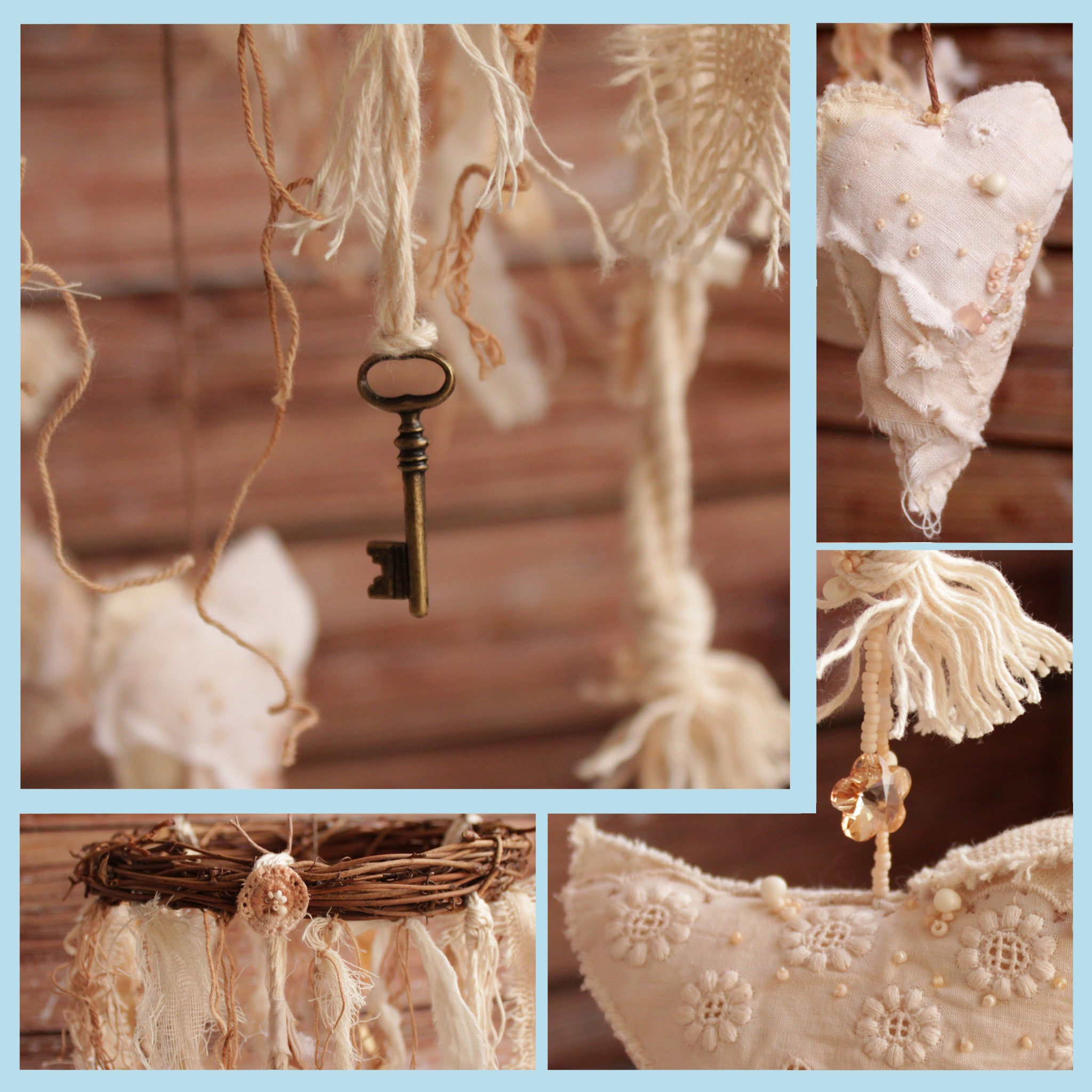 Shabby chic fabric birds mobile - rustic home décor
