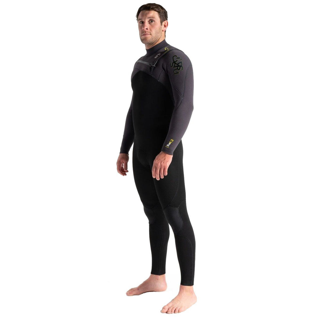 C-Skins Rewired 4/3 Mens Chest Zip Steamer Black/Meteor X/Lime Mens Wetsuits C-Skins