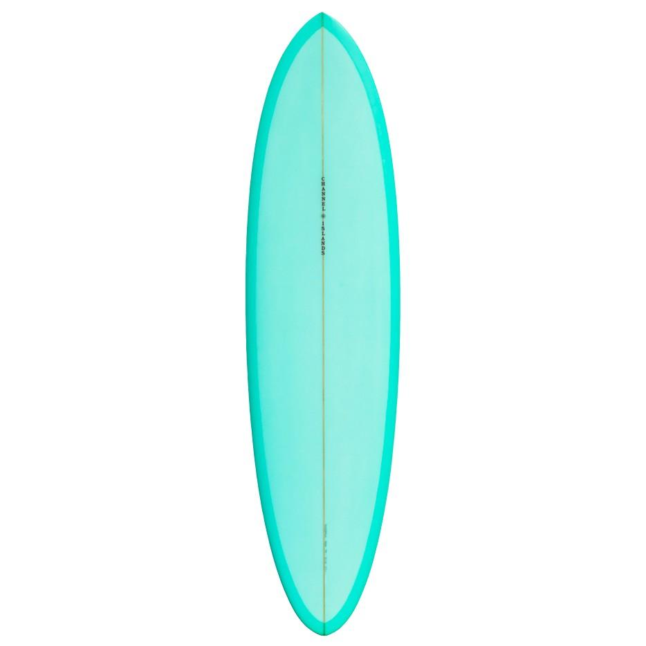 "Channel Islands Mid Surfboards Channel Islands 6'6"" x 20 1/2"" x 2 9/16"" 37.8L 2 + 1 FCSII Turquoise"