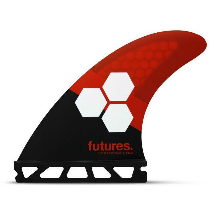 Futures AM3 Honeycomb Thruster Set Red/Black Surfboard Fins Futures