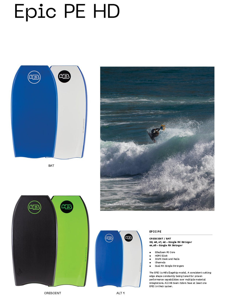 "Hot Buttered Epic PE Bat Tail Bodyboard Bodyboards & Accessories Hot Buttered 38"" Black Deck / White Slick"