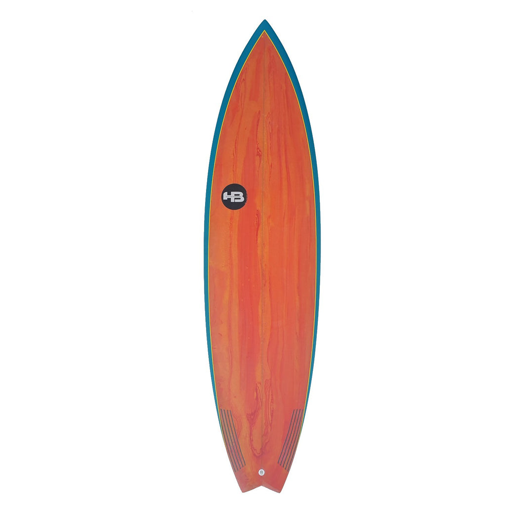 "Hot Buttered Slam Fish XL EPS Red Resin Bleed/Aqua Rails Surfboards Hot Buttered 6'10"" x 21 1/4"" x 2 3/4"" 43.58L FCSII"