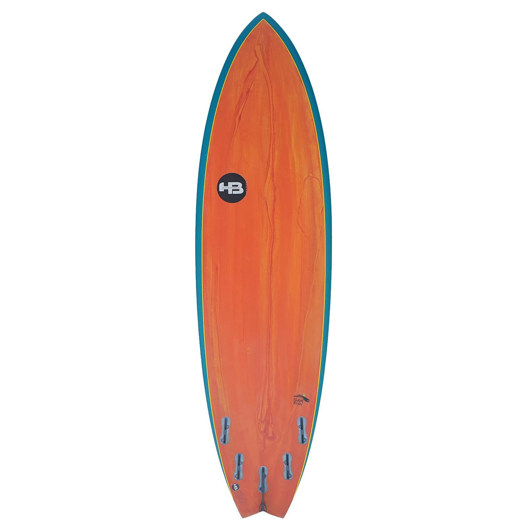 Hot Buttered Slam Fish XL EPS Red Resin Bleed/Aqua Rails Surfboards Hot Buttered