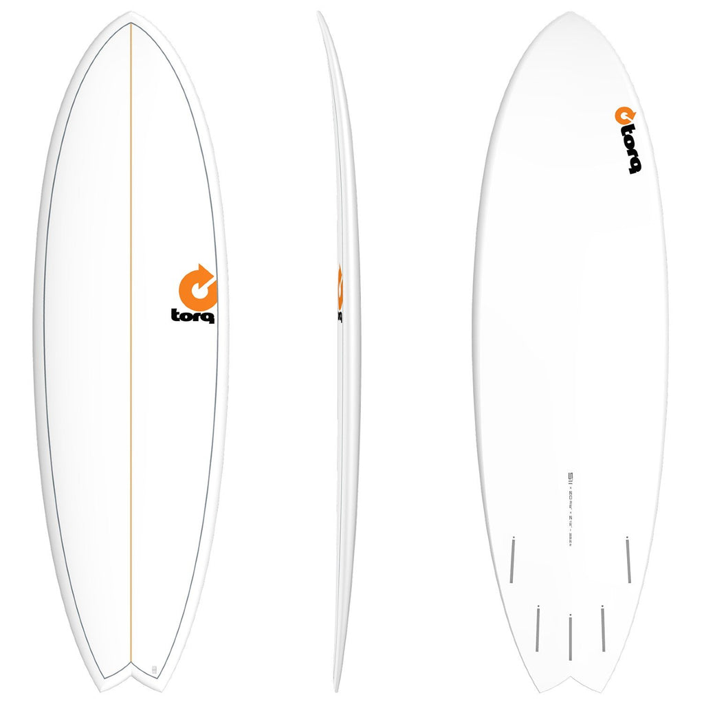 Torq Mod Fish 5'11 Surfboards Torq White + Pinline