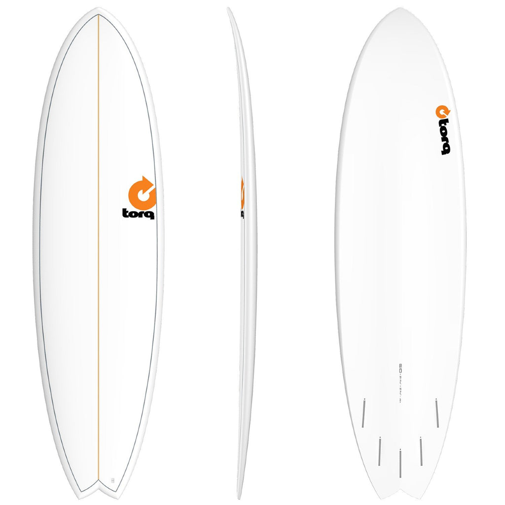 Torq Mod Fish 6'10 Surfboards Torq White + Pinline