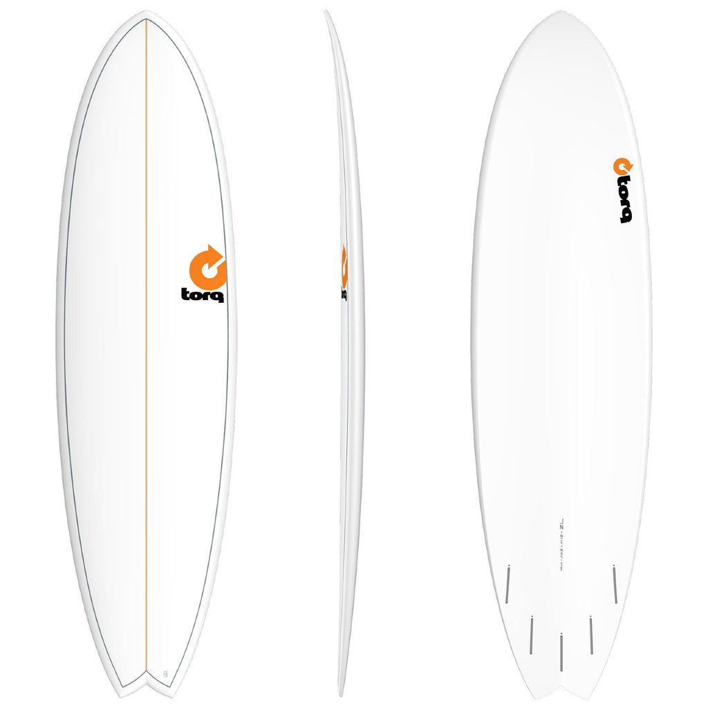 Torq Mod Fish 7'2 Surfboards Torq White + Pinline