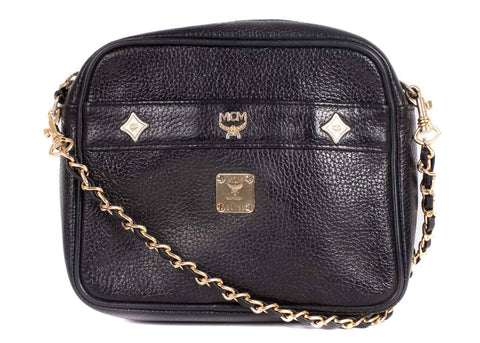 Chain Crossbody Ledertasche Black