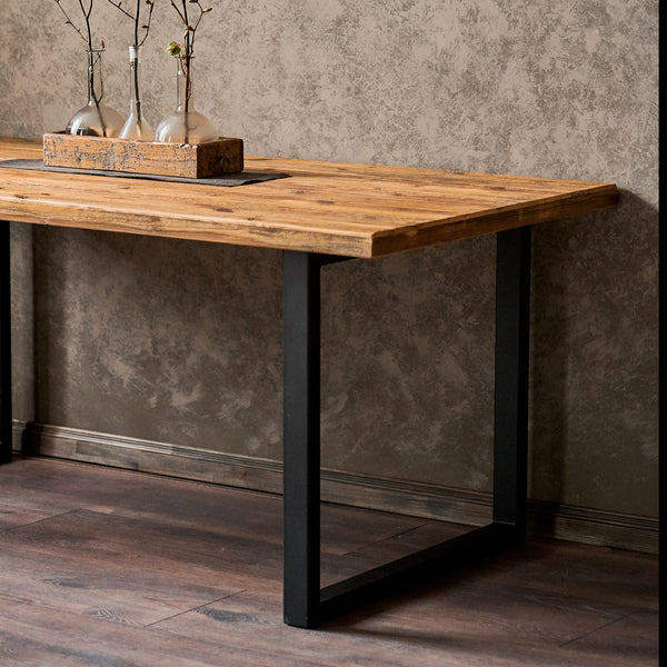 This Reclaimed wood dining table is made for those who love minimalistic handmade furniture. The reclaimed wood dining table is an ideal solution for home or office. The barn wood tabletop is processed with varnish.