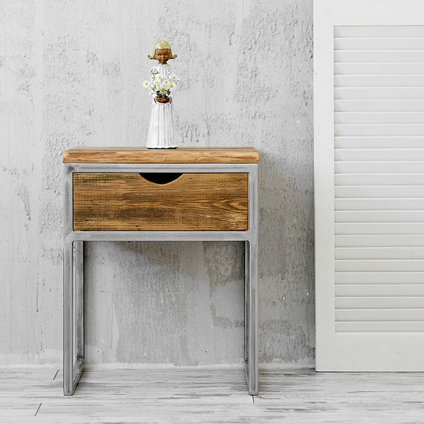 barn wood nightstand industrial bedside table reclaimed wood bedside table