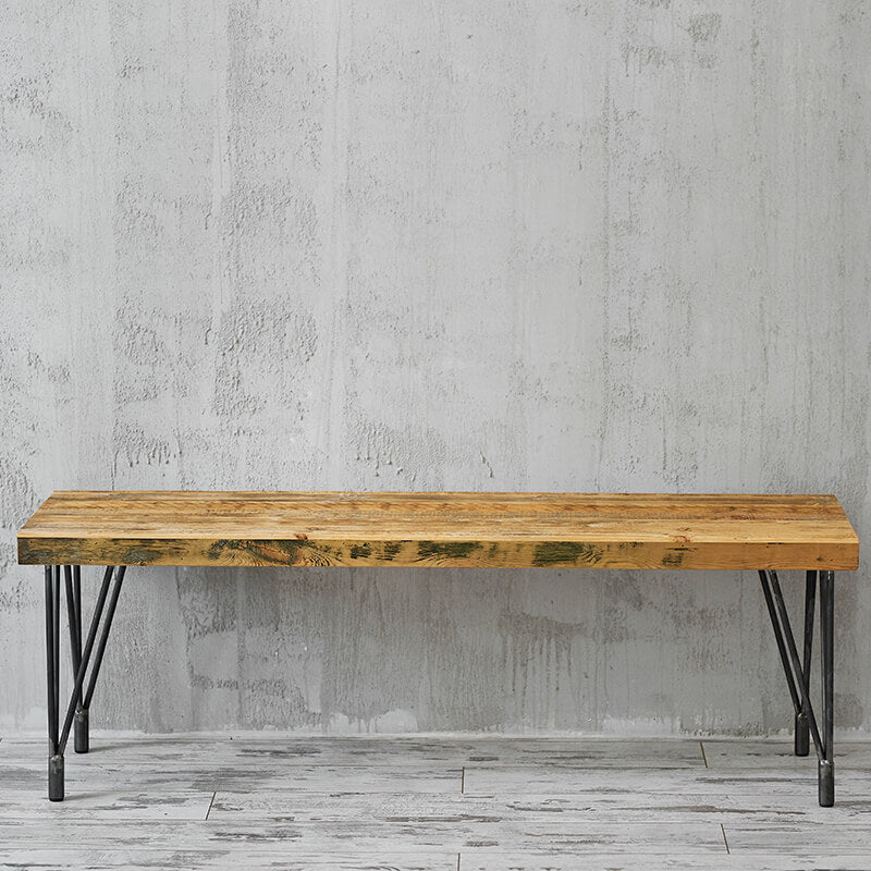 Hairpin leg bench reclaimed wood bench
