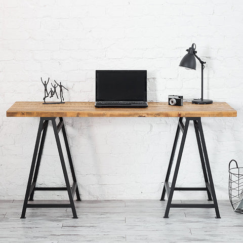 Trestle desk reclaimed wood desk barn wood desk trestle legs
