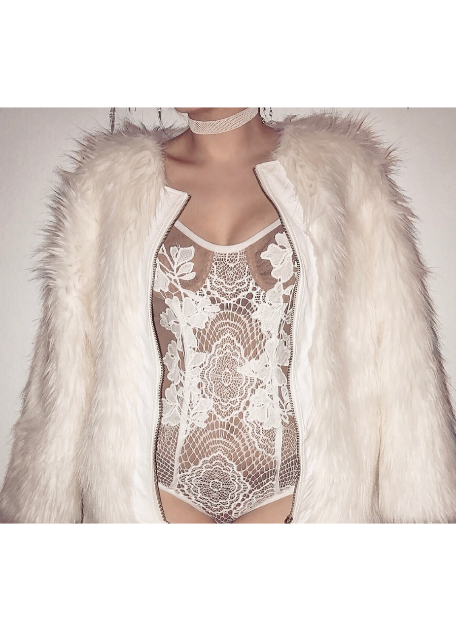 Aisha Lace Bodysuit-White