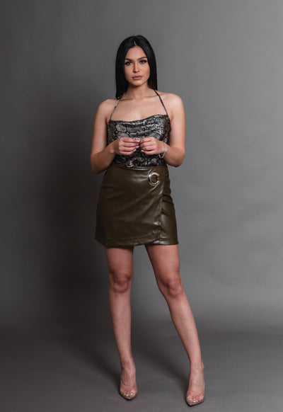 HOOP LEATHER SKIRT