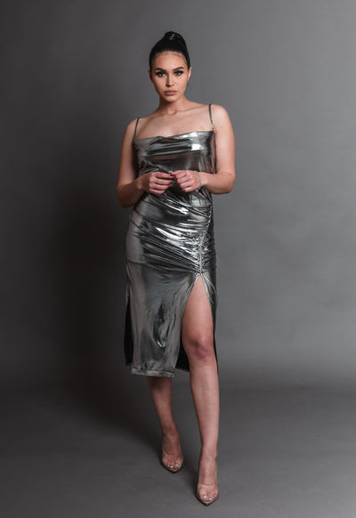 MONA SILVER SLIT DRESS