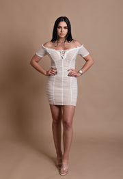 TAMMY MESH DRESS-WHITE
