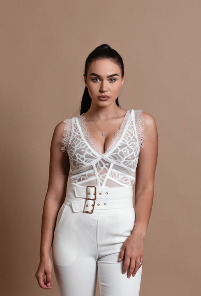 MONICA LACE BODYSUIT-WHITE