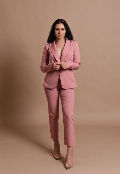 GIRL BOSS BLAZER SET- MAUVE